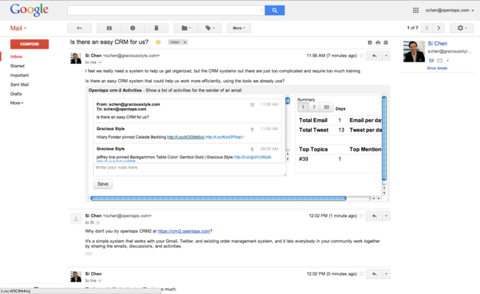 Opentaps CRM2 Gmail UI.png